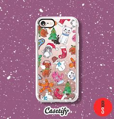 Casetify iPhone 7 Case and Other iPhone Covers - Cute Christmas Cookies Animals and Symbols Hand Painted Watercolor Illustration by designer BlackStrawberry | #Casetify