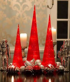 LED Fabric Swirl Towers -Pack of 3 - Red – The Christmas Light Emporium