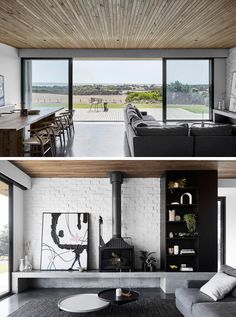 The dining and living areas of this modern house open up to a wood deck that has sweeping views of the coastline and water beyond. Home Design Decor, Modern Interior Design, Interior Architecture, House Design, Design Interiors, Painted Brick Walls, Home Designer, Cheap Rustic Decor, Toms