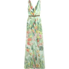 Matthew Williamson Embellished floral-print silk-chiffon gown (2,530 ILS) ❤ liked on Polyvore featuring dresses, gowns, mint, green evening gown, beaded evening dresses, embellished gown, floral gown and beaded gown