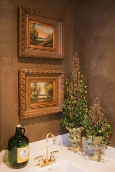 old-world-tuscan bathroom idea: potted topiary | garden