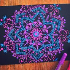 Doodle Art Designs, Purple Art, Mandala, Black Paper Drawing, Gel Pen Art, Mandala Design Art, Dolphin Wall Art, Art, Pen Art Doodle