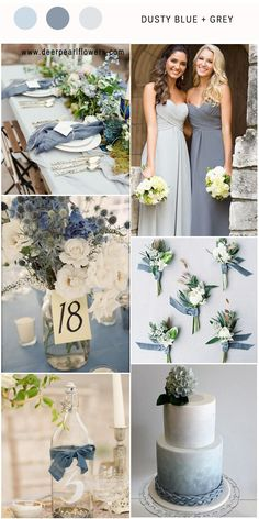 Elegant Dusty Blue and Grey wedding colors / http://www.deerpearlflowers.com/dusty-blue-wedding-color-combos/ #weddingcolors #weddingideas #bluewedding #dustyblue