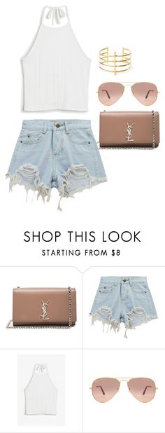 """""""#122"""" by nora-wennberg1999 ❤ liked on Polyvore featuring Yves Saint Laurent, Chicnova Fashion, Monki, Ray-Ban and BauXo"""