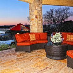 Lake Travis Modern Italian Patio Seating by Zbranek and Holt Custom Homes