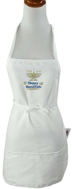 "Happy Hanukkah Menorah Monogram Apron 24"" Long White Jewish Holiday Host Gift #Unbranded"