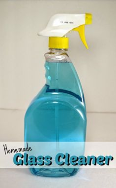 Homemade Glass Cleaner. No-Streak, Window and Glass cleaner made with a couple of inexpensive products that you probably already have in your home. #homemadecleaners #DIYglasscleaner