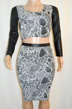 d69636798c2 Black   White Faux Leather Trimmed Crop Top   Midi Pencil Skirt Set - BZ  Fashions