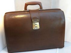 Vintage c 1950s Faux Leather Briefcase / Doctors Bag
