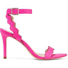 Loeffler Randall - Amelia Elaphe Sandals (£150) ❤ liked on Polyvore featuring shoes, sandals, fuchsia, fuschia sandals, mid heel strappy sandals, mid heel sandals, strappy sandals and fuchsia sandals