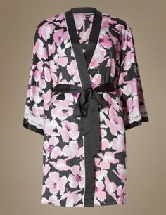 Buy the Satin Floral Belted Short Wrap from Marks and Spencer's range. Kimono Top, Lingerie Sets, Satin, Floral, Stuff To Buy, Collection, Women, Fashion, Florals