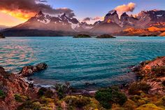 """Sunset from """"Pehoe camping"""", National Park Torres del Paine, Chile"""