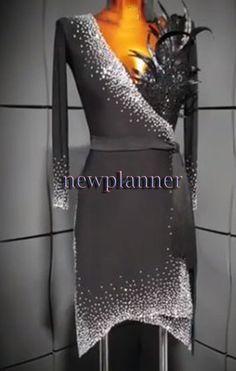 fc90243f1 Feather Competition Ballroom Rhythm Salsa Rumba Latin Dance Dress US 10 UK  12 | eBay