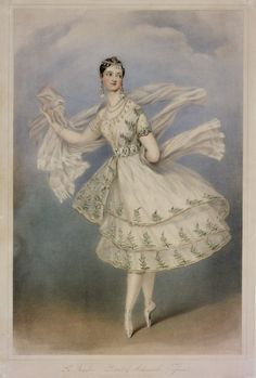 Marie Taglioni as Bayadère, coloured lithograph, 1831....