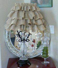 Ruffled  Burlap  Lamp Shade   Paris  Shabby by ShabbieChicHome, $65.00