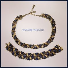This deep, royal blue will have them bowing before you. Circa 1950 Crown Trifari costume necklace and bracelet. $86 each. Call to purchase. #giltjewelry #vintage #trifari #royalblue #1950 #bowdown #statementjewelry