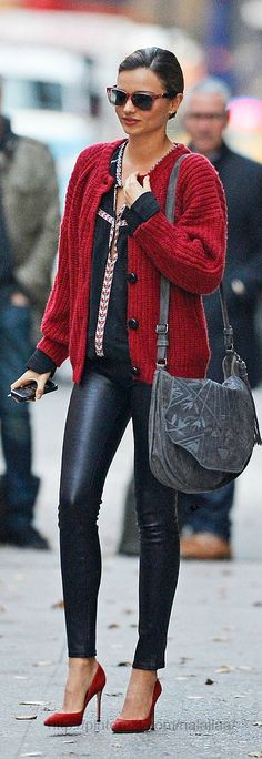 F/W Leather leggings, red knit sweater and red pumps