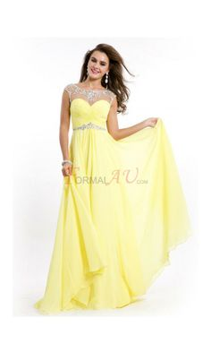A-line Bateau Chiffon Formal Dresses/Long Evening Dresses with Beading FAU1404P800263 - Formalau.com