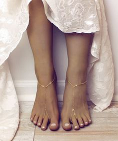 MInimalist Barefoot Sandals Gold Anklet Golden Foot Jewelry by BareSandals | Etsy