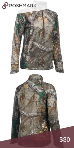 Under Armour Women's Real Tree Camo 1/2 Zip Size M Get the warmth that