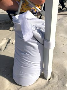Wind needs weight. Add beach canopy weights that are simply filled with sand and then attached to the poles with velcro straps. Beach Canopy Tent, Beach Shade Tent, Canopy Bed Curtains, Beach Umbrella, Beach Look, Beach Day, Emoji Birthday Shirt, Canopy Weights, Beach Hacks