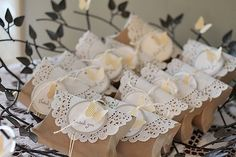 doilies and pillow boxes, great combo!