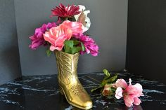 Solid Brass Western Cowboy Boot Vase by WidhalmsCollectibles