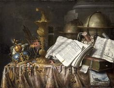 """Reproduction of the painting Collier, Edwaert  """" Vanitas stilleven, 1662"""", printed on canvas, size 12 x 16,5 inches"""
