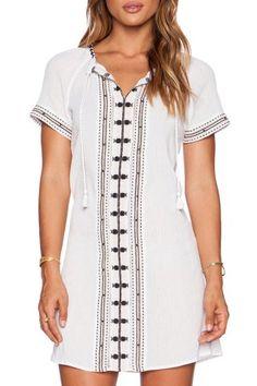Stylish White Short Sleeve V Neck Embroidered Women's Dress