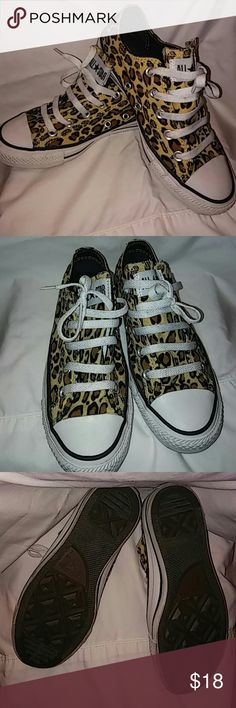 Cheetah print All Star Converse Cheetah print All Star Converse; size 6; worn twice; very cute & comfy; Converse Shoes Sneakers