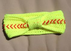 Small Softball headband/ear warmer by PattysPatternsShop on Etsy, $5.00 Softball Headbands, Softball Crafts, Softball Shirts, Girls Softball, Softball Cheers, Softball Bows, Softball Stuff, Baseball Mom, Fastpitch Softball