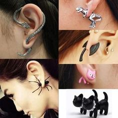 Punk Gothic Fashion Snake Cat Dragon Cuff Wrap Clip Ear Stud Earrings in Jewelry & Watches, Fashion Jewelry, Earrings Cute Ear Piercings, Body Piercings, Cuff Earrings, Clip On Earrings, Jewellery Earrings, Gothic Fashion, Retro Fashion, Fashion Earrings, Fashion Jewelry