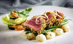 Seared tuna with a citrus, pistachio crust