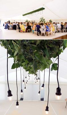 The fashionable leafy look is restrained into an tasteful rectangle in a wedding tent. Upper photo courtesy of Marquee Wedding, Tent Wedding, Festoon Lights, Centerpieces, Drop, Wedding Ideas, Stylish, Inspiration, Beautiful