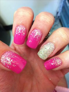 Gel nail art - Glitter fade done with INT's drama and Diamonds & Pearls colored gels!