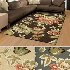 Rug Squared Laurel Floral Print Area Rug (3'6 x 5'6) (Chocolate), Brown, Size 3' x 5'