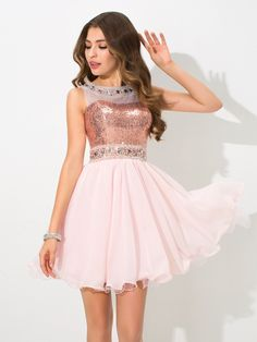 A-Line/Princess Sheer Neck Sequin Sleeveless Short Chiffon Cocktail Dresses,Homecoming Dresses