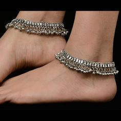 Gorgeous Silver Anklets for Women Gorgeous silver anklets for women. Matching dresses, sari or for more variety visit kaneesha.com  #SilverAnkletsForWomen #BuyAnkletsOnlineIndia