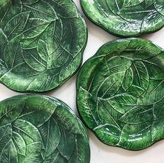 Vintage Italian green leaf dessert plates  PKL THE CELLAR