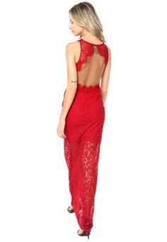 Vestido Colcci Sereia Renda Vermelho