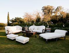 White furniture against the lush green landscape for wedding decor and design. Santa Barbara Blush and Nude Wedding