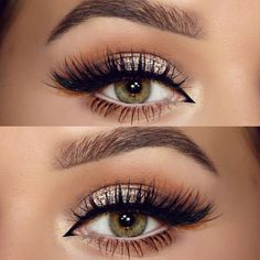 make up guide neutral, champagne glitter, softly shaded crease in warm brown, cream on the lower waterline, black winged liner extended into inner corner Pretty Makeup, Love Makeup, Makeup Inspo, Makeup Inspiration, Makeup Ideas, Buy Makeup, Neutral Eye Makeup, Makeup 2018, Green Makeup