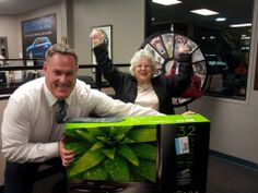 """Congrats to Charlene Koop on her great spin from the wheel of thanks! """"It was a great day, Shannon Nelson and Al Morgan made it happen! Then they let me win a 32"""" TV from their wheel of thanks. Thank you Joe Machens"""". Buy this Prize Wheel at http://PrizeWheel.com/products/floor-prize-wheels/big-40-prize-wheel/."""