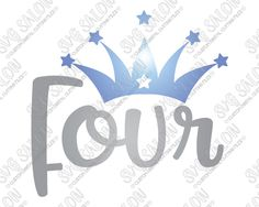 Four Year Old Birthday Star Crown Cut File in SVG, EPS, DXF, JPEG, and PNG