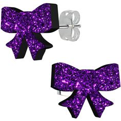 Purple Haze Glitter Ribbon Stud Earrings | Body Candy Body Jewelry #bodycandy