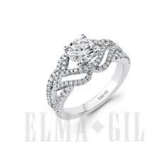 ELMA*GIL 18KWG Diamond Engagement Ring DR-636 | band should be an eternity have an overlapping pattern like the center