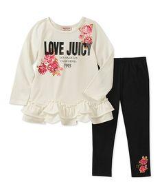 2c9a8cc3e485b Juicy Couture | White 'Love Juicy' Ruffle-Hem Top & Black Floral-Accent  Leggings - Infant & Toddler