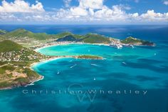 aerial view of cruise ships doked in Philipsburg, Saint Martin