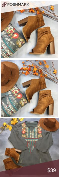 """Cognac brown vegan suede peep toe scrunch bootie Super cute and goes with so much!  Fits true to size.  Add to bundle to save when purchasing, 4"""" heel Shoes Ankle Boots & Booties"""