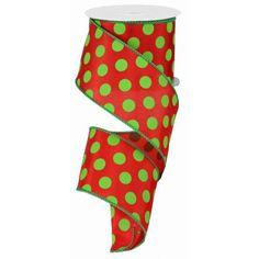 "Large Polka Dot Ribbon - Red/Lime Green (RG15893Y) - 2.5"" x 10 yds"